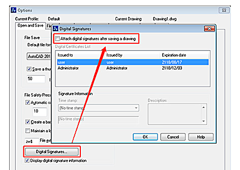 Digital Signature on DWG Files