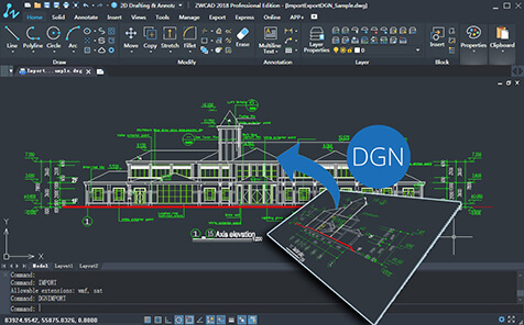 Import DGN files, exchange drawings with MicroStation