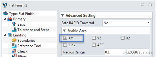 """XY Arcs"" is checked as default in Flat Finish operation"