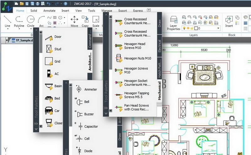ZWCAD 2017 SP1 is Now Available with Tool Palettes and Many More