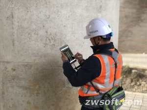 An engineer using EX-CAD to conduct inspection work