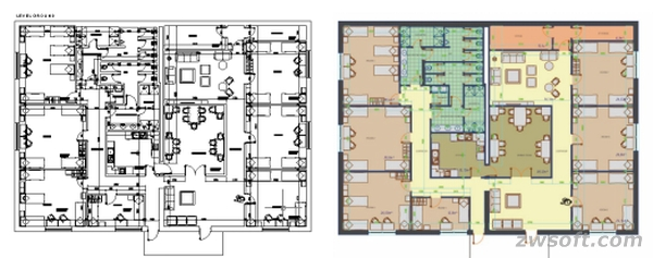 Plot 2D floor plan in ZWCAD to EPS file and render it in Photoshop®