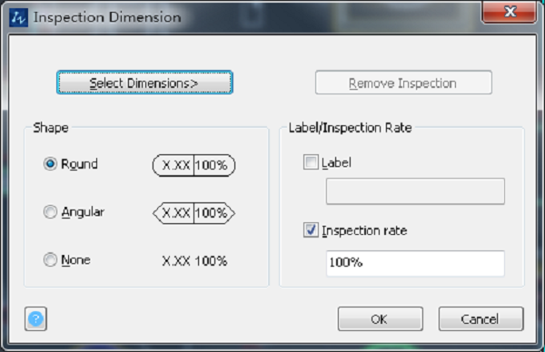 The interface of Inspection Dimension   with Shape and Label/Inspection Rate to be set