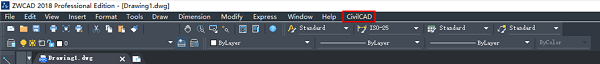 CivilCAD is integrated in the menu bar