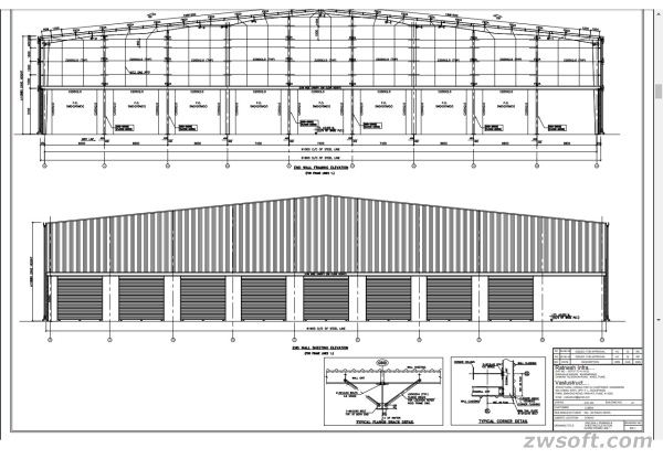 Vastustruct-The elevation and section of the industrial shed finished with ZWCAD